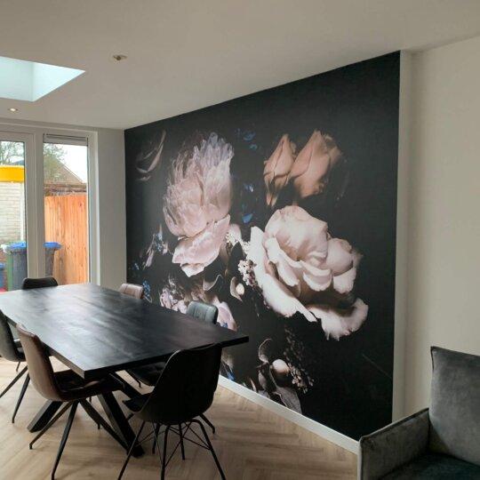 behang bloemen vliesbehang fotobehang zwart roze rozen bloemen